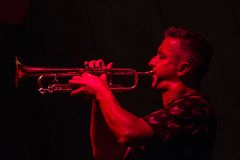 Male musician playing the trumpet Stock Images
