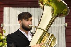 Male musician playing tuba Stock Photography
