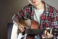 Male musician singing song stock images
