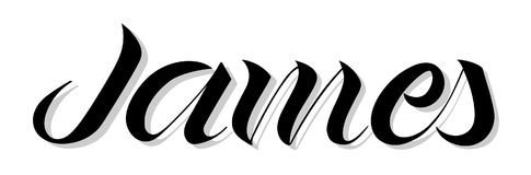 Male name `James`, hand written in modern lettering style. Original calligraphic art. Great for prints, cards, banners, posters, t-shirts etc royalty free illustration