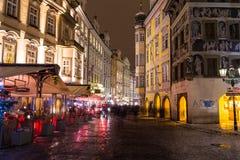 Male Namesti Street in Prague at Night Stock Image