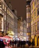 Male Namesti Street in Prague at Night Stock Images