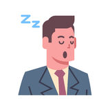 Male Napping Emotion Icon Isolated Avatar Man Facial Expression Concept Face. Vector Illustration Stock Photos