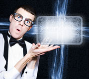 Male Nerd Advertising Digital Tablet PC Program Stock Photography