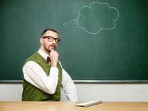 Male nerd thinking Royalty Free Stock Images