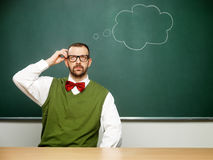 Male nerd thinking Royalty Free Stock Photography