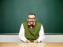 Male nerd typing Royalty Free Stock Photo