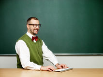Male nerd typing Royalty Free Stock Images