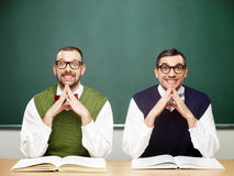 Male nerds pleased Royalty Free Stock Image