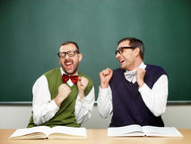 Male nerds thrilled Stock Photo