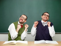 Male nerds thrilled Royalty Free Stock Images