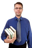Male nerdy geek carry books Stock Photo