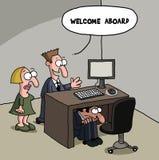 Male New Office Worker Cartoon Gag Stock Photo