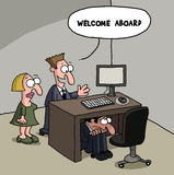 Male new office worker cartoon gag Stock Photo