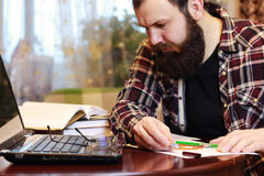Male notebook work bearded Stock Images