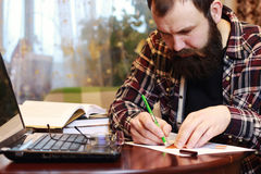 Male notebook work bearded Stock Photo