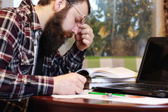Male notebook work bearded Stock Photography