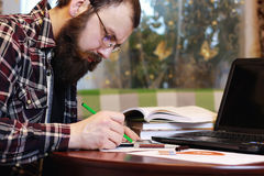 Male notebook work bearded Stock Image