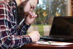 Male notebook work bearded Royalty Free Stock Photo