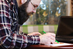 Male notebook work bearded Royalty Free Stock Image