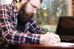 Male notebook work bearded Stock Photos