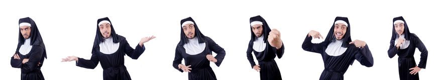 The male nun in funny religious concept Royalty Free Stock Image