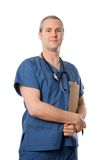 Male nurse. Male doctor happy on white isolated background royalty free stock photo