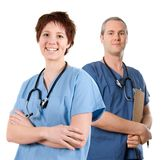 Male nurse. Male doctor happy on white isolated background royalty free stock images