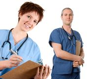 Male nurse. Male doctor happy on white isolated background stock photo