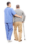 Male nurse helping an elderly gentleman. Full length portrait of male nurse helping an elderly gentleman isolated on white background, rear view royalty free stock photography