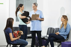 Male Nurse Holding Clipboard While Pet Owners Looking At Him. In waiting area of clinic Royalty Free Stock Image