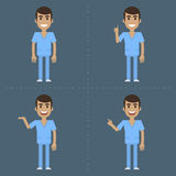 Male nurse indicates in various poses Stock Images
