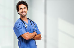 Male nurse portrait. Blurred background Royalty Free Stock Image