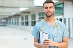 Male nurse vet with stethoscope Royalty Free Stock Image