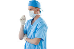 Male nurse wearing surgical mask and gloves Royalty Free Stock Photo