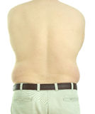 Male obesity. Back view of an overweight, middle-aged man naked from the waist up Royalty Free Stock Photos