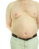 Male obesity. Front view of an overweight, middle-aged man naked from the waist up Stock Photo