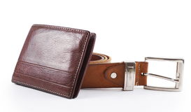 Male objects. belt and  wallet Royalty Free Stock Images