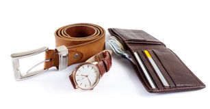 Male objects. watch,belt and wallet Royalty Free Stock Image