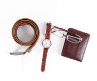 Male objects. watch, belt and wallet Stock Image