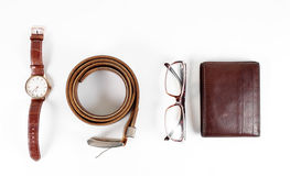 Male objects. watch,belt and  wallet Royalty Free Stock Photos