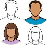 Male och kvinnliga avatarsymboler Arkivfoto