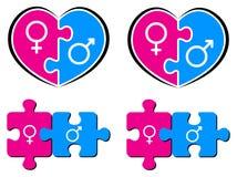 Male och kvinnliga symboler Arkivfoto