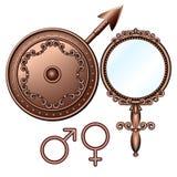 Male och kvinnligsymboler. Arkivfoto