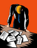 Male office worker paperwork. Vector illustration of a Male office worker hunched and stressed over paperwork Stock Photo
