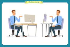 Male office worker poses sitting at computer with tablet having coffee brake cartoon characters set vector illustration stock illustration