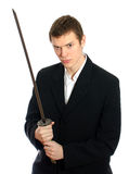 Male office worker with sword. Stock Image