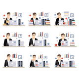 Male Office Worker Daily Work Scenes With Different Emotions, Set Of Illustrations Of Busy Day At The Office Royalty Free Stock Photo