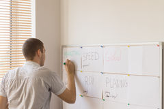 Male Office Worker Writing on Whiteboard Scheduler Stock Photo