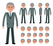 Male old businessman character constructor for different poses. Set of various men`s faces and emotions. Cartoon vector flat-style illustration Royalty Free Stock Image